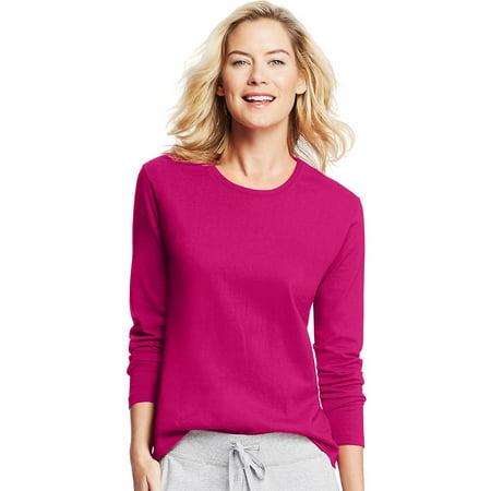 56dee9c70812 Hanes - Hanes Women s Long-Sleeve Crewneck T-Shirt
