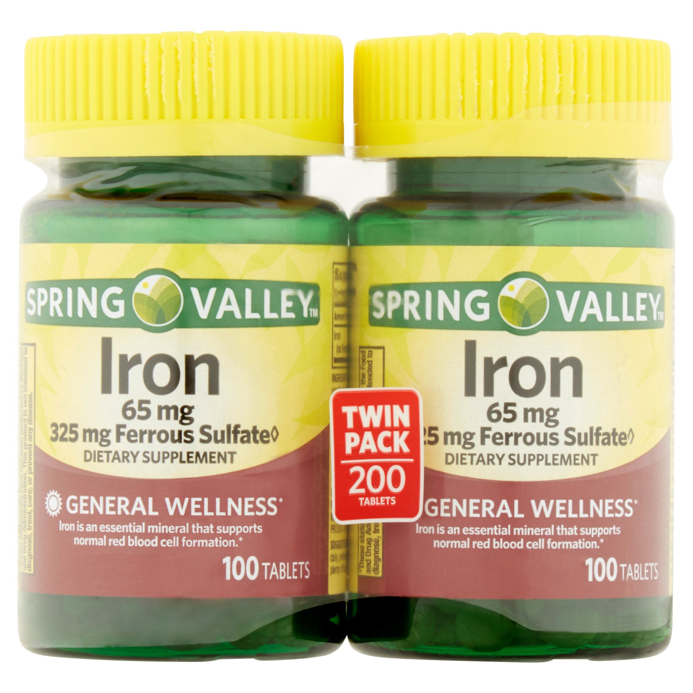 Spring Valley Iron Supplement Tablets, 65 mg, 100 Ct, 2 Pk