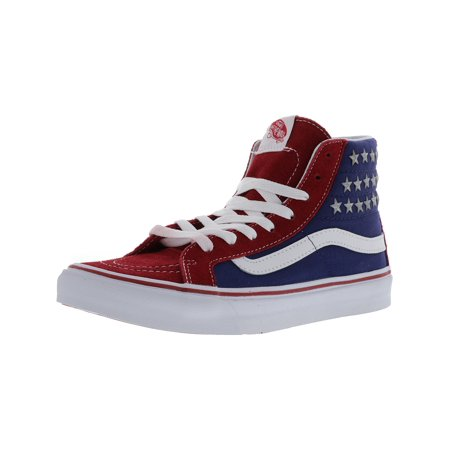 6ce3919d2f2 Vans - Vans Sk8-Hi Studded Stars Red   Blue High-Top Canvas Skateboarding  Shoe - 8M 6.5M - Walmart.com