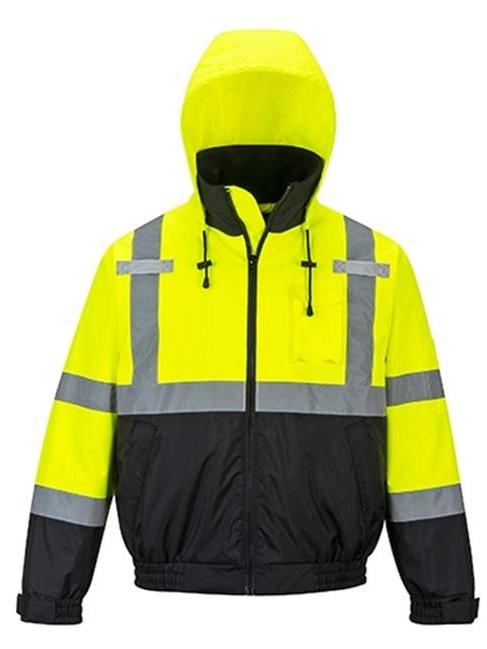 Portwest US364 5XL Hi-Visibility Premium 2-in-1 Waterproof Bomber Jacket, Yellow & Black - Regular