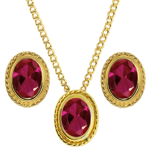 2.82 Ct Oval Red Created Ruby 925 Yellow Gold Plated Silver Pendant Earrings Set