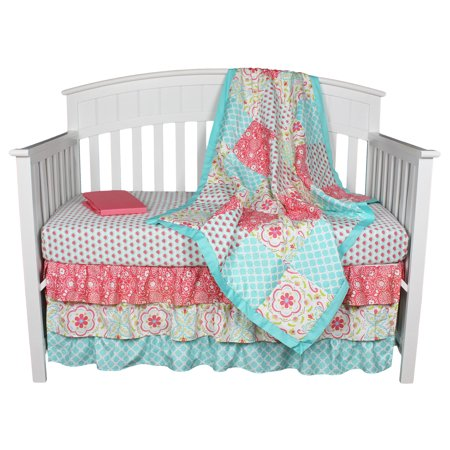 Gia Floral Coral/Aqua 4-In-1 Baby Girl Crib Bedding Set by The Peanut Shell