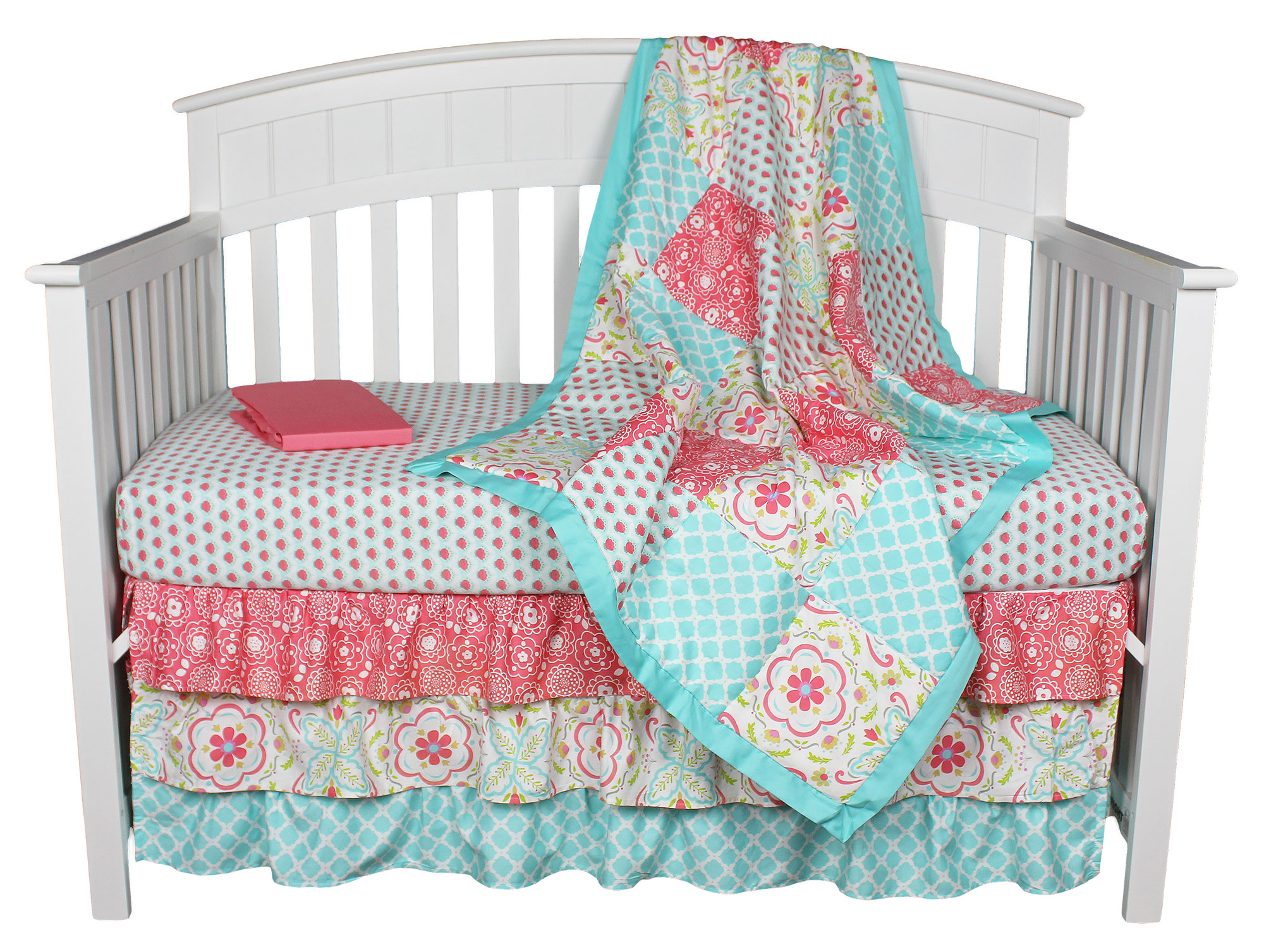 Teal Coral Bedding Bedroom Teal And Coral Chevron Bedding