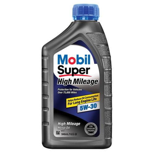 Mobil Super 5W-30 High Mileage Motor Oil, 1 qt.
