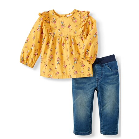 Floral Ruffle Woven Tunic and Skinny Jeans, 2pc Outfit Set (Baby (Best Clothes For Skinny Girl)