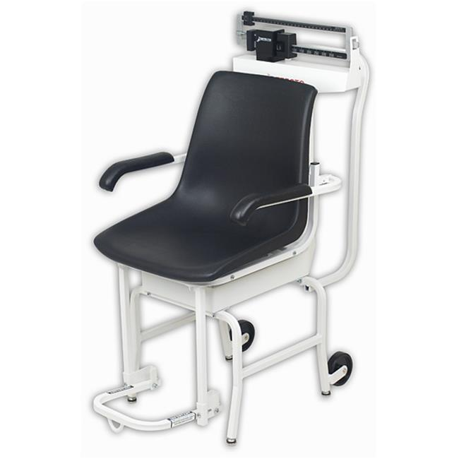 Cardinal Scale-Detecto 475 Chair Scale Mechanical 400 Lb X 4 Oz Lift-Away Arms and Foot Rests Oversized Wheels Die Cast