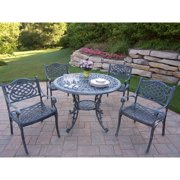 Oakland Living Corporation Dakota Cast Aluminum 5 pc Dining Set, with 42-inch Table, and 4 Chairs