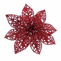 KABOER 10x Glitter Christmas Poinsettia Artificial Flowers Clip Xmas Tree Decor 15cm UK