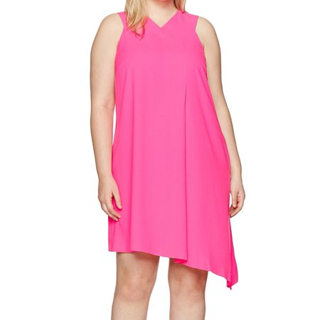 RACHEL Rachel Roy NEW Neon Pink Womens 1X Plus Asymmetrical Shift Dress - Neon Glow In The Dark Dresses
