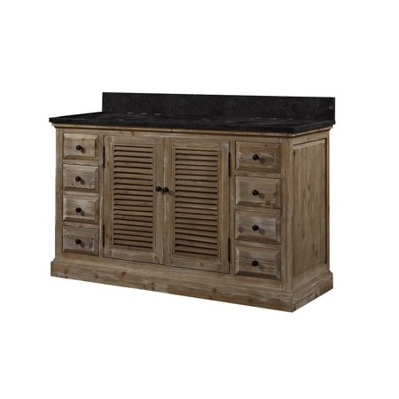 finest selection 9d608 5a5dc Infurniture Dark Brown Finish Wood 60-inch Double Sink Bathroom Vanity with  Dark Limestone Top