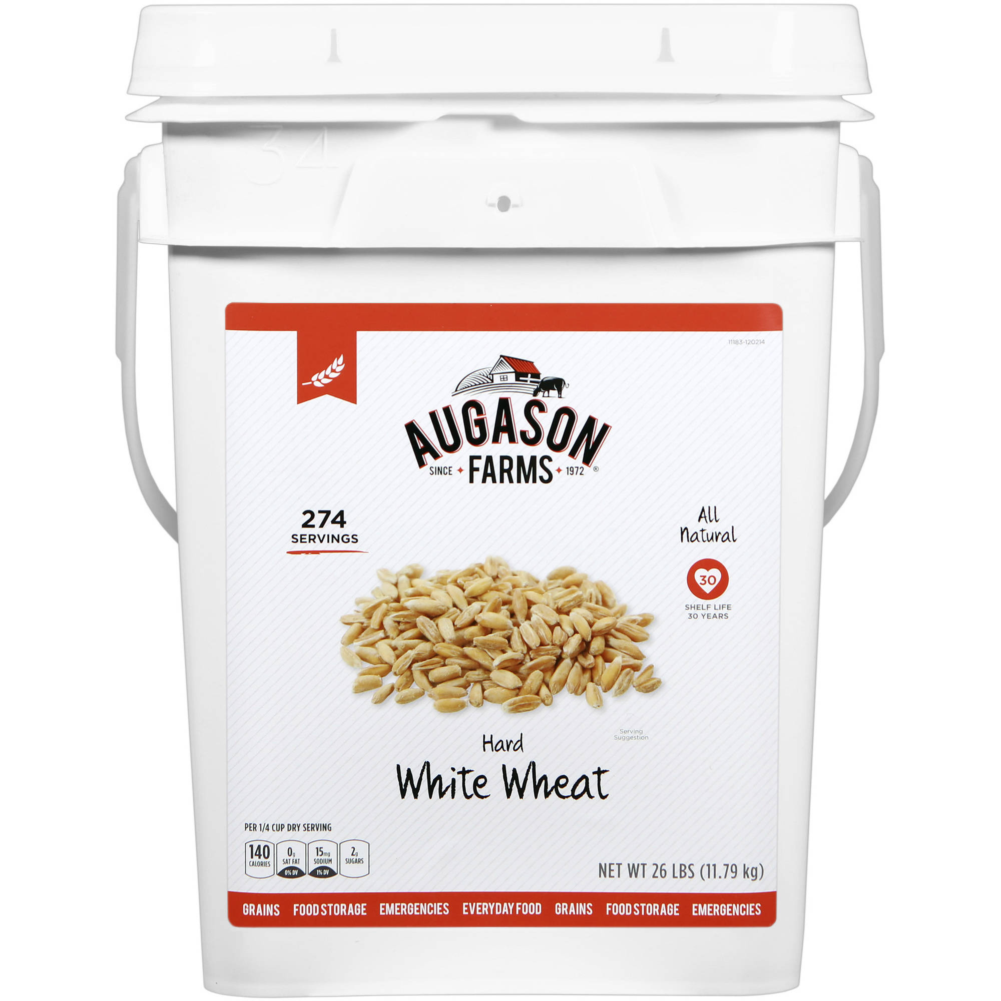 Augason Farms Emergency Food Hard White Wheat, 26 lb by Generic