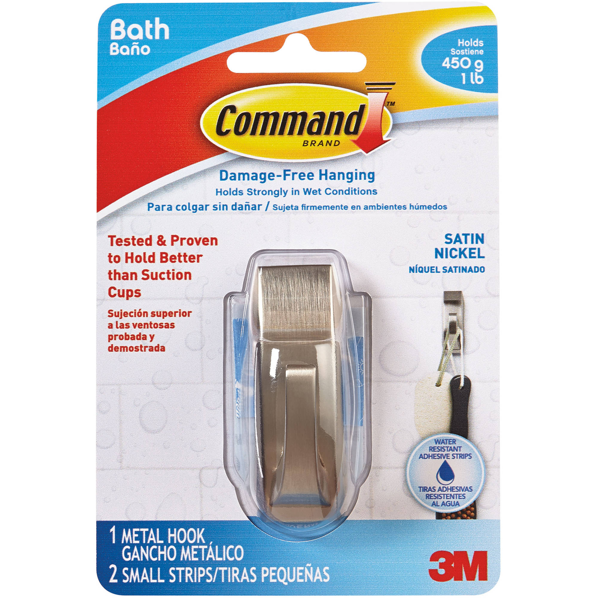 Command Modern Reflections Small Hook with Water-Resistant Strips, 1 Hook, 2 Strips, MR01-SN-BES