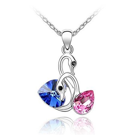 Generic MBOX Gold Tone & Rhodium Plated Crystals Pendant Necklace (Double Swan-BlueΠnk)