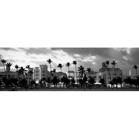Buildings Lit Up At Dusk Ocean Drive Miami Beach Florida USA Canvas Art - Panoramic Images (12 x 36) - Gay Halloween Miami Beach