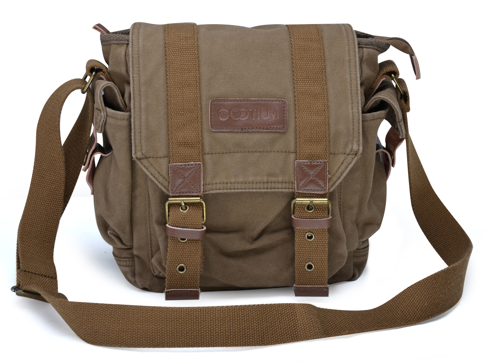 Gootium Vintage Canvas Messenger Bag Men S Shoulder School Satchel Army Green