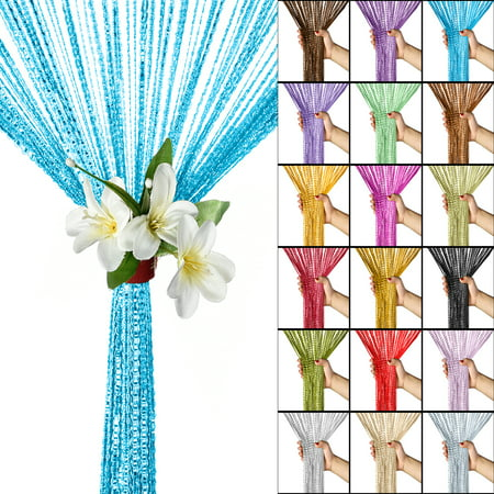 Glitter String Curtain Pack of 2, Tassel Window Curtains Panels Pair Room Dividers Doorway Fly Screen Fringe for Door Kitchen Wedding Home Patio Hotel Decoration, Multi Colors](Door Decoration Ideas)