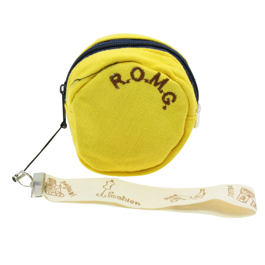 Girl Yellow Round Shape Zip Top Closure Coin Purse Bag