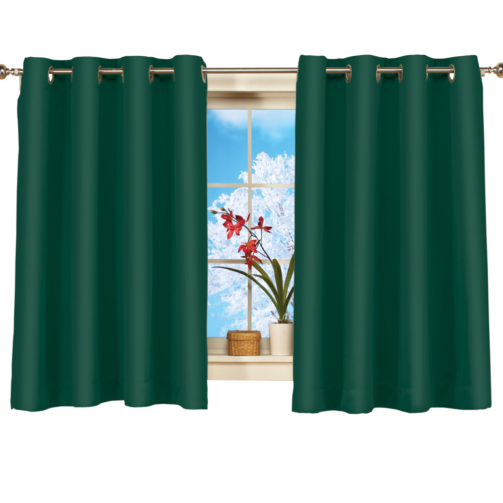 "Short Blackout Window Curtain Panel, Energy-Efficient, Noise-Reducing and Light-Blocking Triple-Layer Technology, Grommet Top, 56"" X 45"", Forest Green"