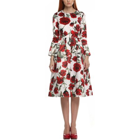 ACEVOG Women Long Sleeve Retro Vintage Style 1950\'s Floral Spring Garden Party Cocktail Picnic Dress OTST - 1950's Style Halloween Costumes