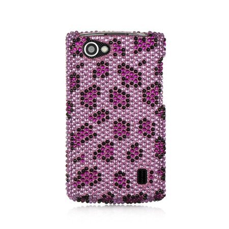 Leopard Full Diamond (DreamWireless FDLGMS695PPLE LG Optimus M Plus Ms695 Full Diamond Case, Purple Leopard )