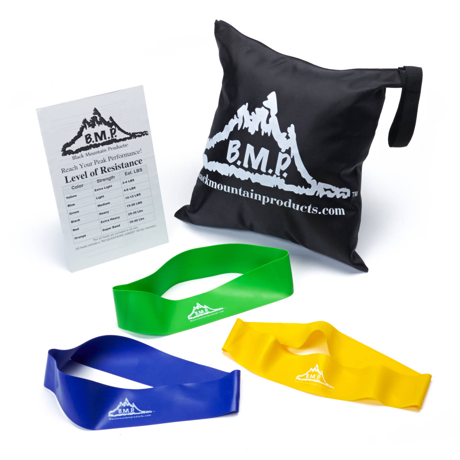 Black Mountain Products Resistance Loop Bands Set of 3 with Starter Guide and Carrying Bag