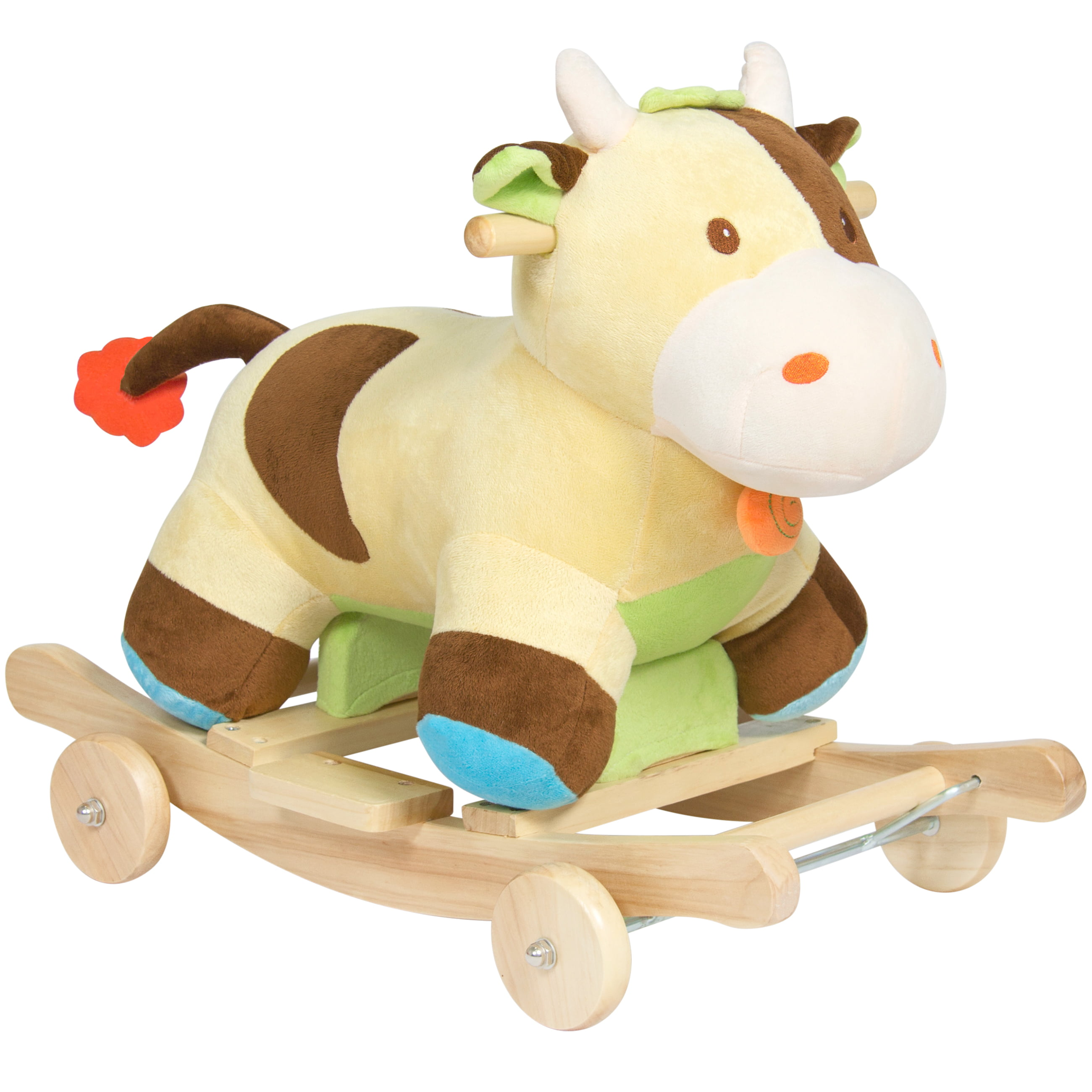 Best Choice Products Kids Plush Cow Animal Toy Rocking Chair W Wheels Green Brown Walmart Com Walmart Com