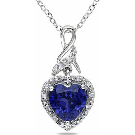 2-1/4 Carat T.G.W. Created Blue Sapphire and Diamond-Accent Sterling Silver Heart Women's Pendant Necklace,