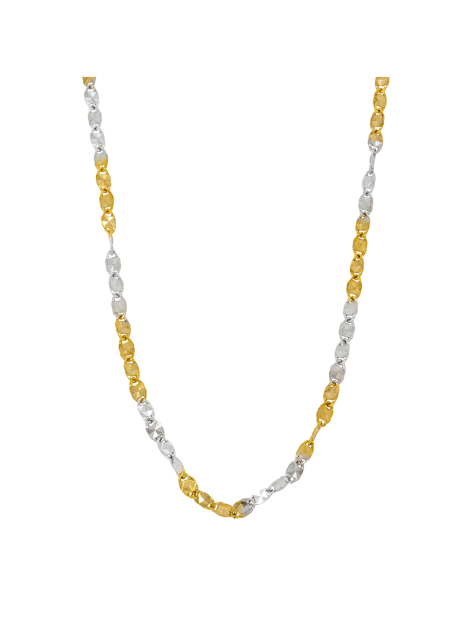 Sterling Silver and 18kt Gold over Sterling Silver Diamond Cut Oval Link Necklace