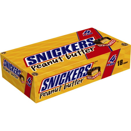 SNICKERS Peanut Butter Squared 4 To Go Chocolate Candy Bars, 3.56 Ounce Pack, 18 Count (Peanut Squares)