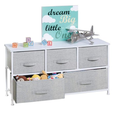 High Supply Extra Wide Dresser Storage Tower - Sturdy Steel Frame, Wood Top, Easy Pull Fabric Bins - Organizer Unit for Child/Kids Bedroom or Nursery - Textured Print - 5 Drawers - Gray/White Chest Wood Top