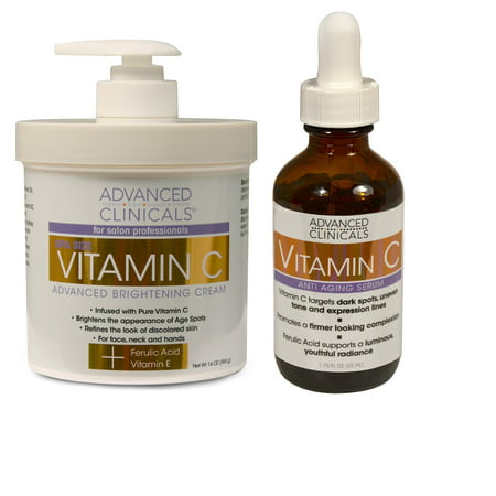 Advanced Clinicals Vitamin C Skin Care set for face and body. Spa Size 16oz Vitamin C cream and Vitamin C face serum for dark spots, age spots, uneven skin tone in as little as 4