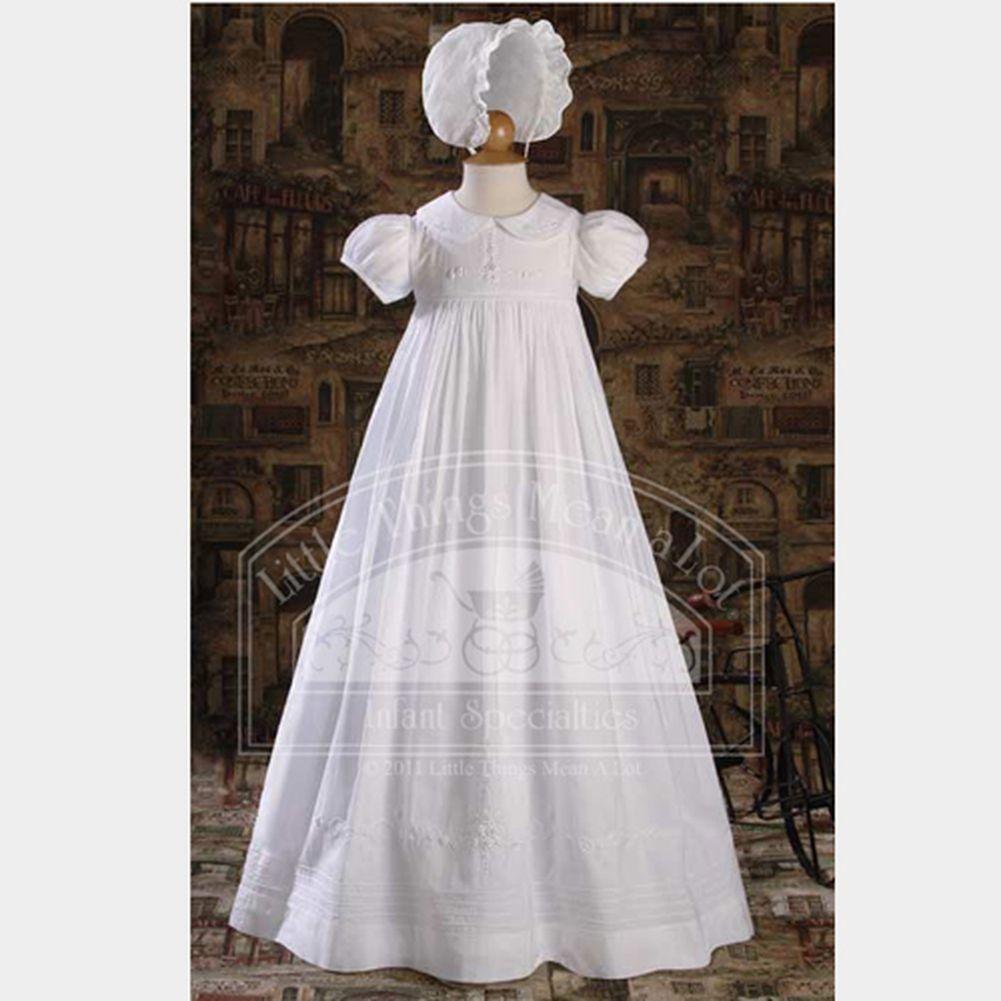 LITTLE THINGS MEAN A LOT Baby Girls White Handmade Bonnet...