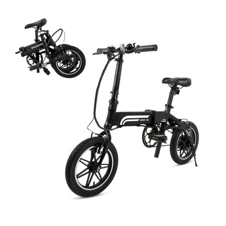 Swagtron EB5 Lightweight Folding Electric Bike 14u0022 36V 250W eBike with Pedals & Power Assist 15.5-Mile Range