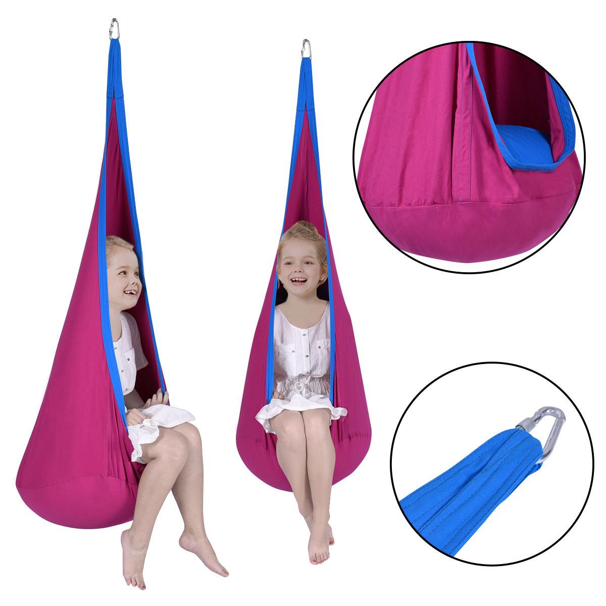 Goplus Child Pod Swing Chair Tent Nook Indoor Outdoor Hanging Seat Hammock Kids