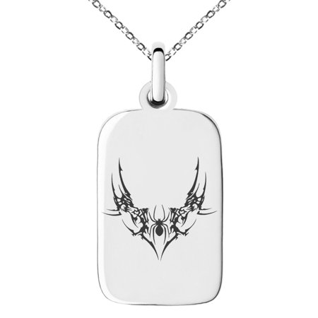 Stainless Steel Wicked Black Widow Engraved Small Rectangle Dog Tag Charm Pendant Necklace - Black Widow Necklace