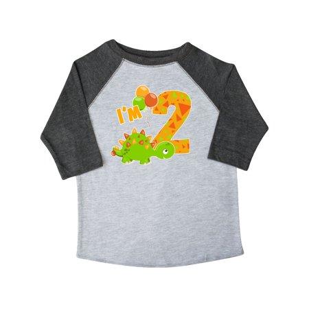 Happy Dinosaur Second Birthday Green Toddler T Shirt