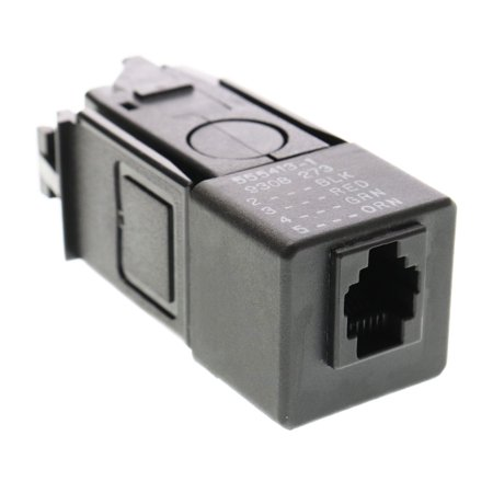 AMP Tyco TE 555413-1 NetConnect Token-Ring RJ11 Jack, 8228-MAU to Cable, Black