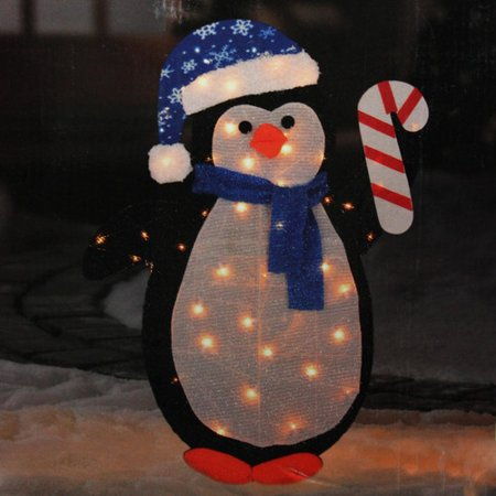 northlight seasonal lighted winter penguin with santa hat outdoor christmas yard art decoration