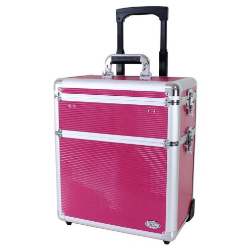 Jacki Design Rolling Aluminum Makeup or Salon 2-in-1 Train Case with Removable Dividers
