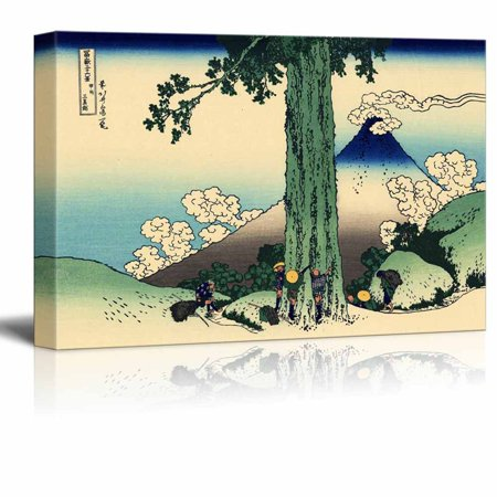 """wall26 Canvas Wll Art - Mishima Pass in Kai Province by Japanese Artist Hokusai - Thirty-six Views of Mount Fuji Series - Giclee Print and Stretched Ready to Hang - 16""""x24"""""""