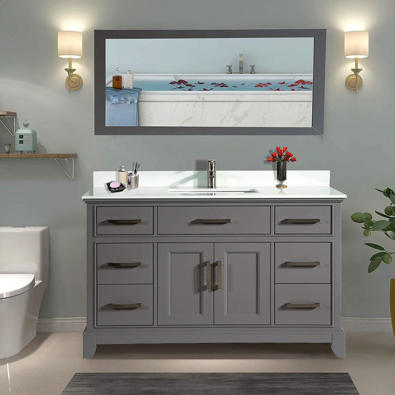 Vanity Art 60 Single Sink Bathroom Vanity Combo Set 7 Drawers 1 Shelf Super White Phoenix Stone Top Under Sink Cabinet With Mirror Walmart Com Walmart Com