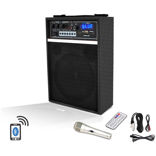 "Pyle-Pro 300-Watt Bluetooth 6.5"" Portable PA Speaker System with Built-in Rechargeable Battery, Wired Microphone and FM Radio"