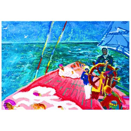 At the Wheel of The Sea Ray Rolled Canvas Art - Lowell SV Devin (17 x 12) Sea Ray Boat Canvas
