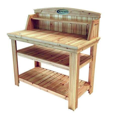 Cedar Garden Potting Table - Suncast Cedarwood Potting Bench with Two Storage Shelves - Natural Finish