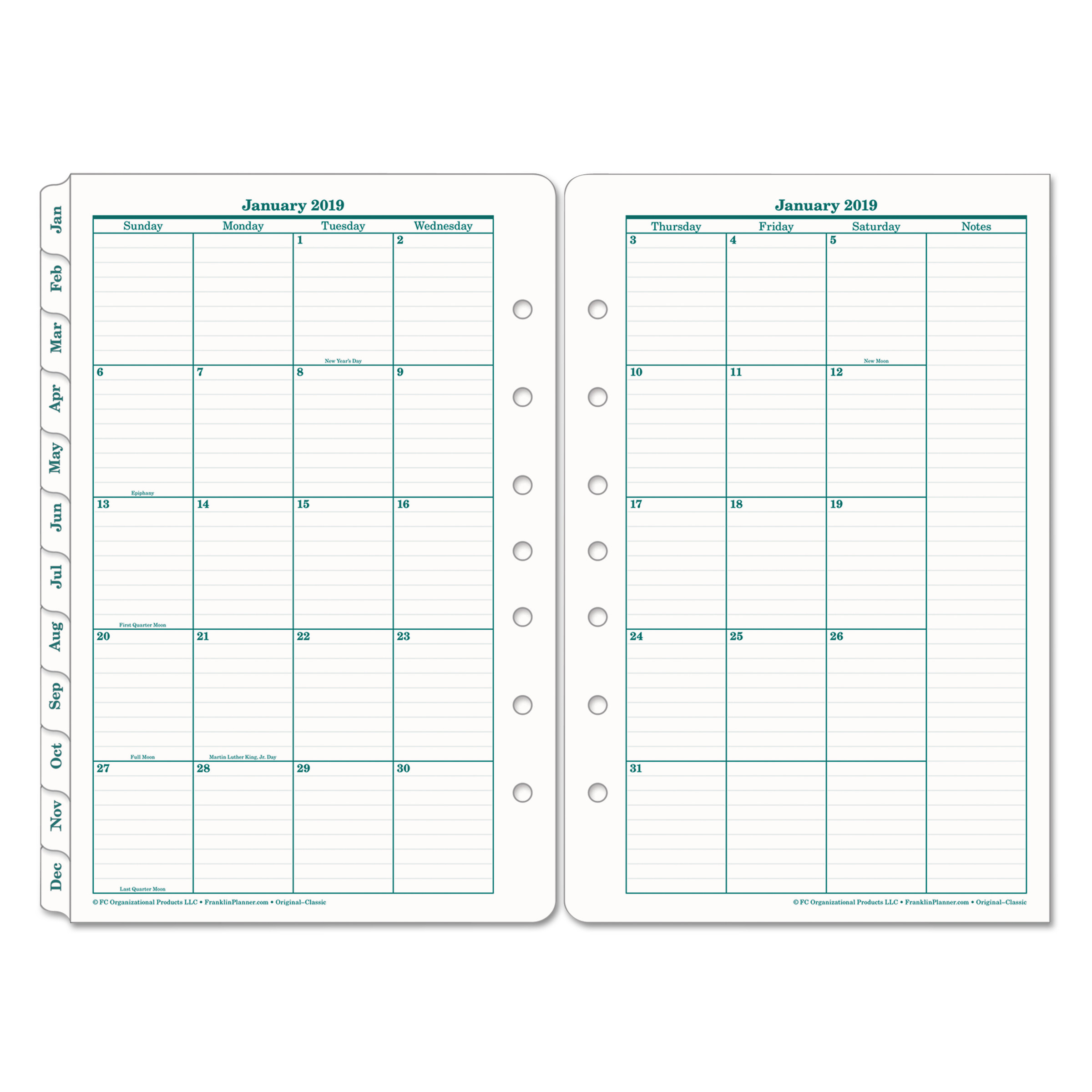FranklinCovey Original Dated Monthly Planner Refill, January-December, 5 1/2 x 8 1/2, 2019 -FDP35399