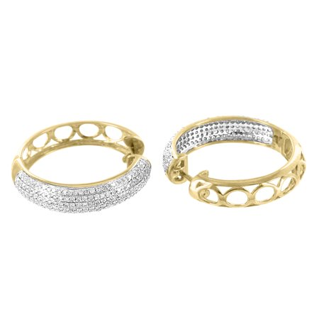 10k Yellow Gold Hoop Style Earrings 1.00 Carat Real Diamonds Huggies Womens 25mm
