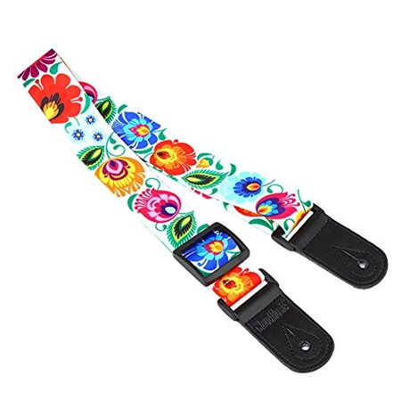 CLOUDMUSIC Colorful Peacock Flower LS Ukulele Strap Ukulele Belt With Microfiber Leather Heads For Soprano Concert Tenor Baritone String Instruments (white)