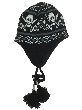 Ben Berger Boys Gray /& Red Snowflake Peruvian Beanie Fleece Lined Winter Hat