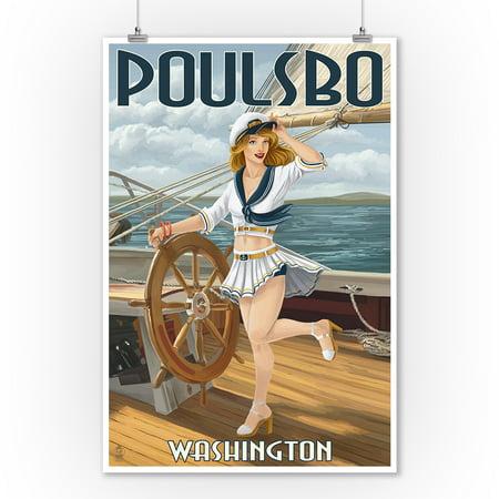Poulsbo, Washington - Sailor Pinup Girl - Lantern Press Poster (9x12 Art Print, Wall Decor Travel Poster)