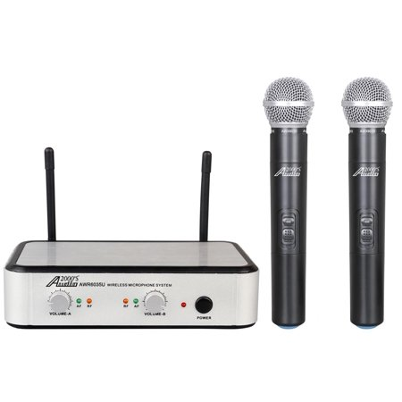 audio2000 39 s awm6035u dual channel uhf wireless microphone system. Black Bedroom Furniture Sets. Home Design Ideas